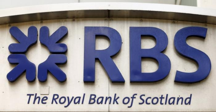 FILE PHOTO:  The logo of Royal Bank of Scotland is seen at office building in Zurich