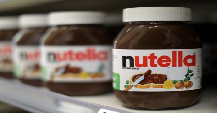 FILE PHOTO: Jars of Nutella chocolate-hazelnut paste are displayed in a Casino supermarket in