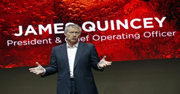 FILE PHOTO:  The Coca-Cola Company President and Chief Operating Officer James Quincey delivers