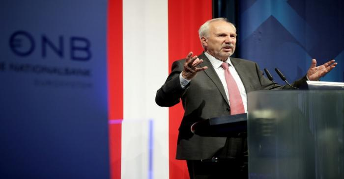 FILE PHOTO: Austria's National Bank, OeNB, Governor Ewald Nowotny speaks during an economics
