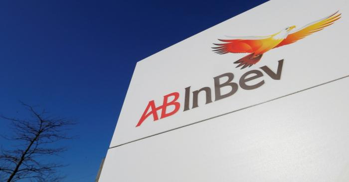 FILE PHOTO: The logo of Anheuser-Busch InBev is pictured outside the brewer's headquarters in