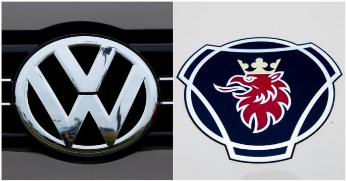 FILE PHOTO: A combination of two file photographs shows the logos of German carmaker Volkswagen
