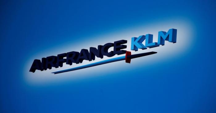 FILE PHOTO: The Air France-KLM company logo is seen at the annual shareholder meeting in the La