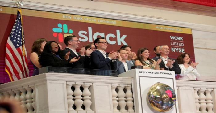 Slack Technologies Inc. CEO Butterfield rings opening bell at New York Stock Exchange (NYSE)