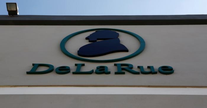 The corporate logo of De La Rue is seen at De La Rue Malta at Bulebel Industrial Estate in