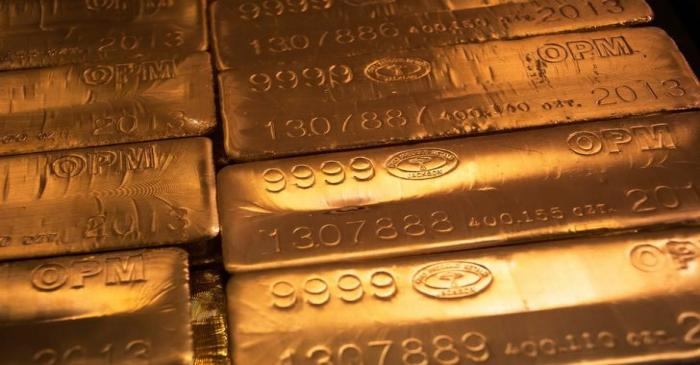 24 karat gold bars are seen at the United States West Point Mint facility in West Point, New