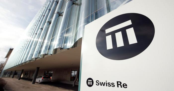 The logo of insurance company Swiss Re is seen in front of its headquarters in Zurich