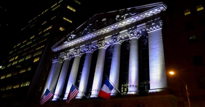 The New York Stock Exchange flies a French flag, in New York