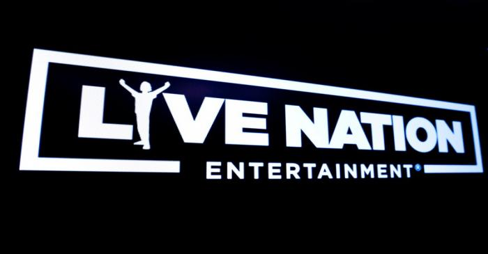 The logo for Live Nation Entertainment is displayed on a screen on the floor at the NYSE in New