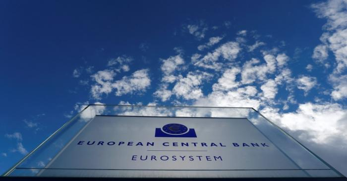 Sign of the European central Bank (ECB) is seen ahead of the news conference on the outcome of