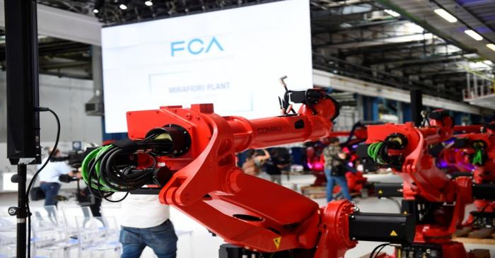 Ceremony to mark the installation of the first robot on the production line for the new