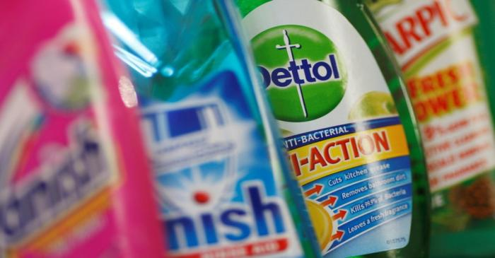 FILE PHOTO: Products produced by Reckitt Benckiser; Vanish, Finish, Dettol and Harpic are seen