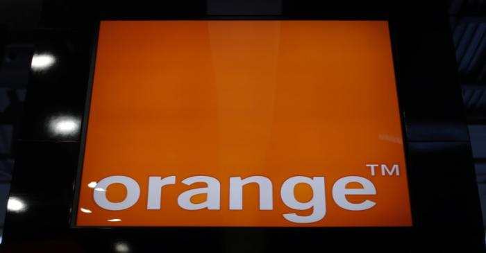 The logo of telecom company Orange is seen at Mobile World Congress in Barcelona