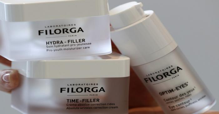 FILE PHOTO - Anti-ageing cosmetics by French Laboratoires Filorga are displayed at the