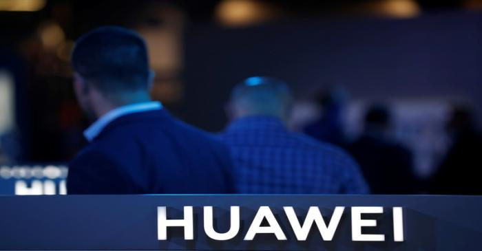 The Huawei logo is pictured on the company's stand during the 'Electronics Show - International