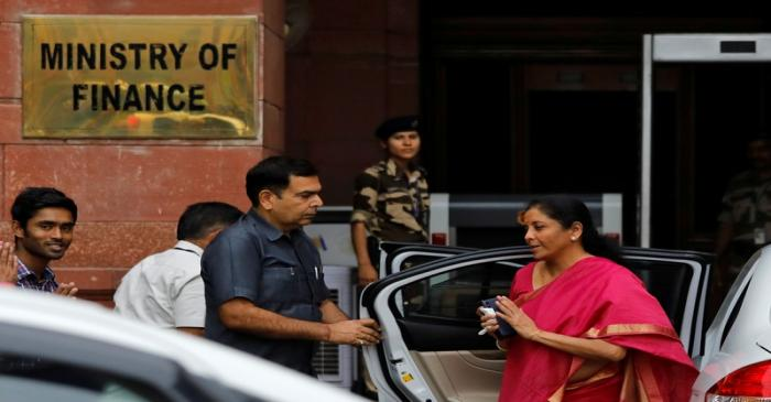 India's Finance Minister Nirmala Sitharaman arrives at her office before leaving for parliament