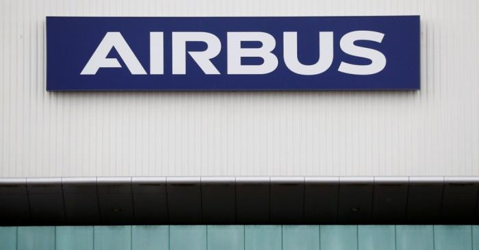 The logo of Airbus is pictured at their facility in Montoir-de-Bretagne near Saint-Nazaire