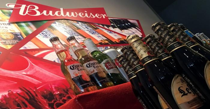 FILE PHOTO: Portfolio beer brands of Budweiser Brewing Company APAC Ltd are displayed during a