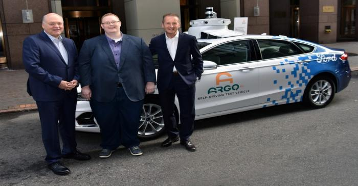 Ford President and CEO Jim Hackett, Argo AI co-founder Bryan Salesky and VW CEO Herbert Diess