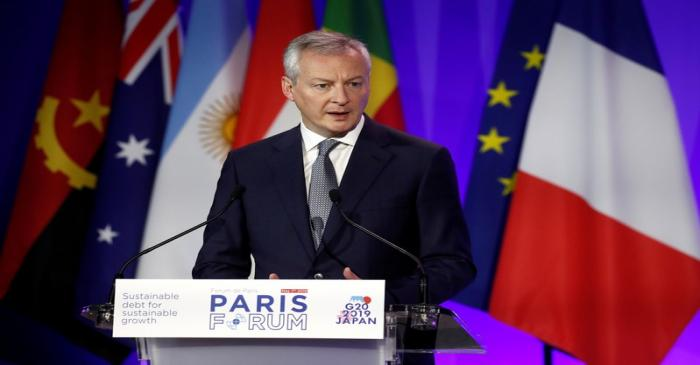 FILE PHOTO: French Economy and Finance Minister Bruno Le Maire delivers a speech during a