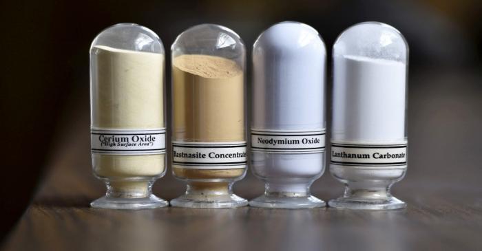FILE PHOTO: Samples of rare earth minerals Cerium oxide, Bastnaesite, Neodymium oxide and
