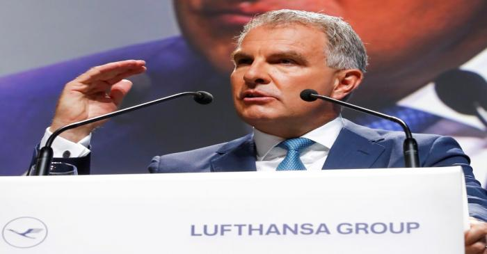 FILE PHOTO: Carsten Spohr, CEO of German airline Lufthansa AG speaks at the company's annual