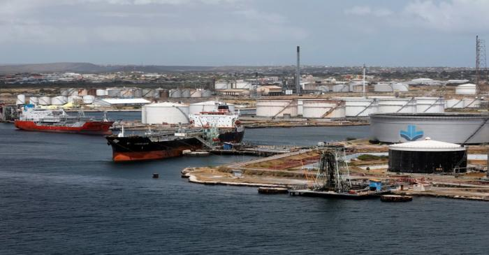 FILE PHOTO:  Crude oil tankers are docked at Isla Oil Refinery PDVSA terminal in Willemstad on