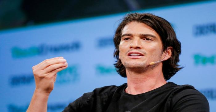 FILE PHOTO: Neumann, CEO of WeWork, speaks to guests during the TechCrunch Disrupt event in