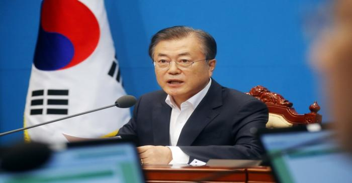 South Korean President Moon Jae-in speaks during an irregular cabinet meeting at the