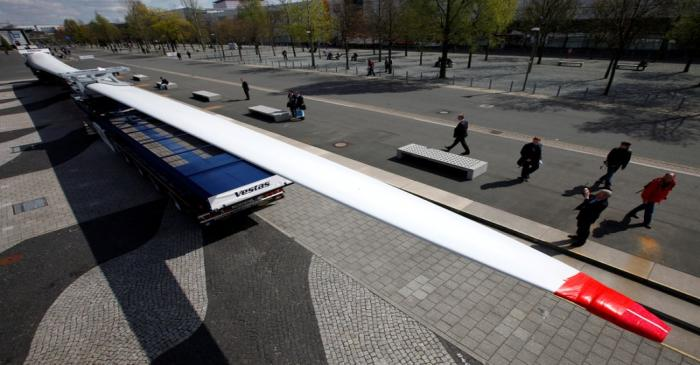 FILE PHOTO: A Vestas wind turbine blade displayed at an industrial trade fair in Hanover
