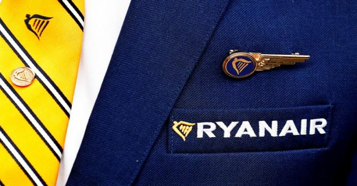 FILE PHOTO: Ryanair logo is pictured ahead of a news conference by Ryanair union
