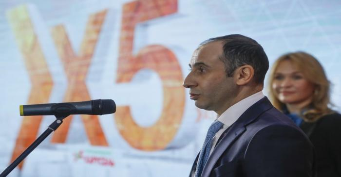 FILE PHOTO: Chief Executive Officer of X5 Retail Group Shekhterman speaks during a ceremony at
