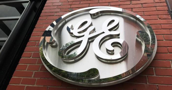 The General Electric Co. logo is seen on the company's corporate headquarters building in