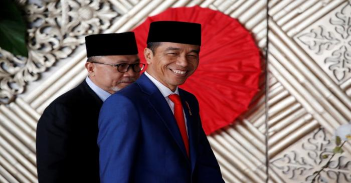 Indonesia President Joko Widodo arrives before delivering a speech ahead of Independence Day,