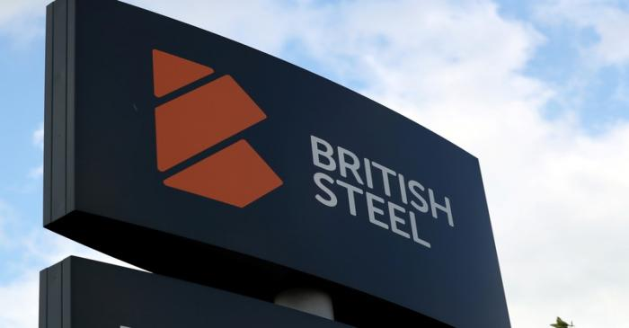 A British Steel works sign is seen in Scunthorpe