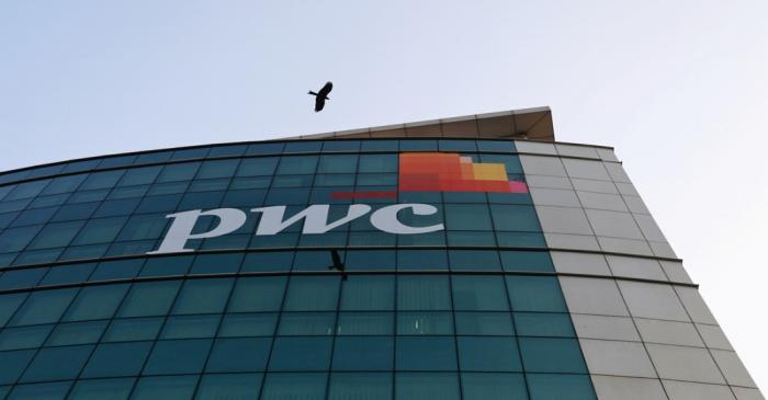FILE PHOTO: A bird flies past the logo of Price Waterhouse installed on the facade of its