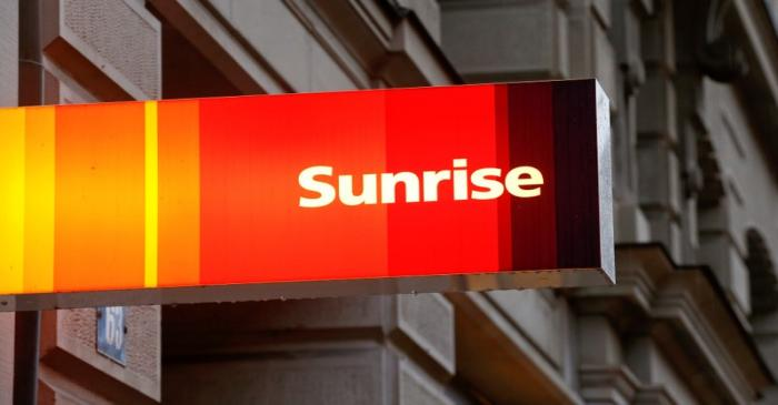 FILE PHOTO: The company's logo is pictured at a shop of Swiss telecoms company Sunrise in