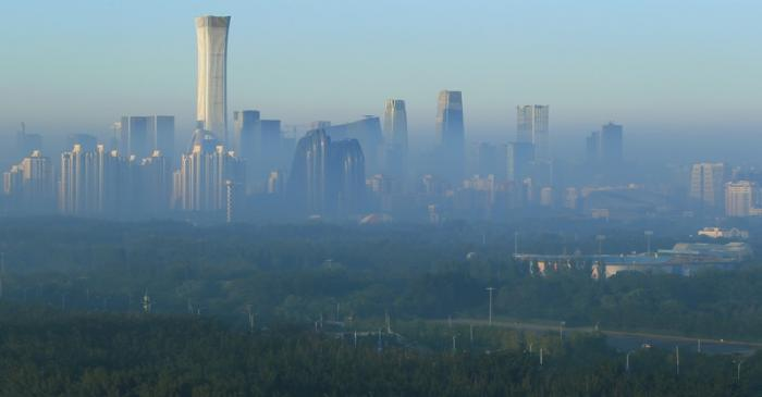 The skyline of central business district is seen in the morning in Beijing