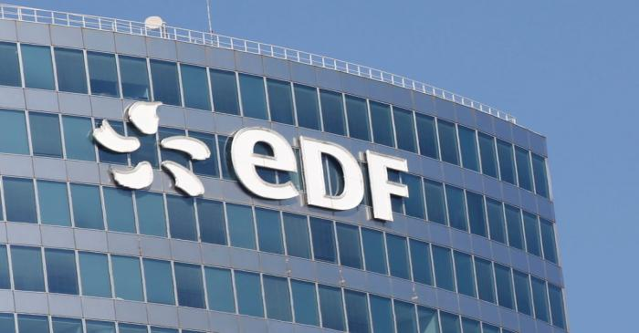 The logo of Electricite de France SA (EDF) is pictured on the facade of a building in Paris