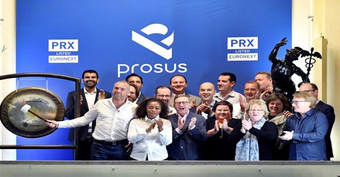 Bob van Dijk, CEO of Naspers and Prosus Group poses at Amsterdam's stock exchange, as Prosus