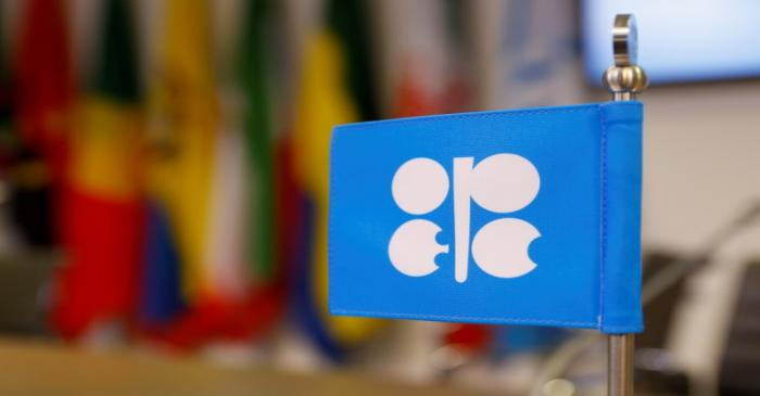 FILE PHOTO: The OPEC logo inside its headquarters in Vienna