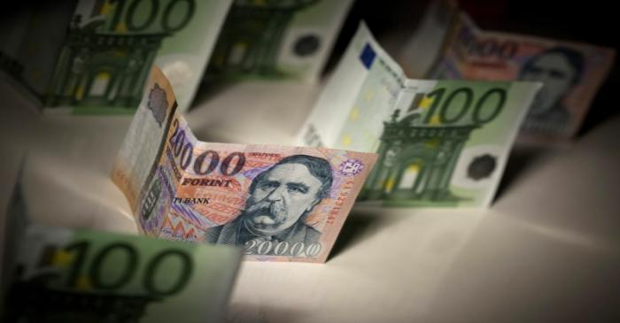 Hungarian forint and Euro notes are seen in this photo illustration taken in Budapest