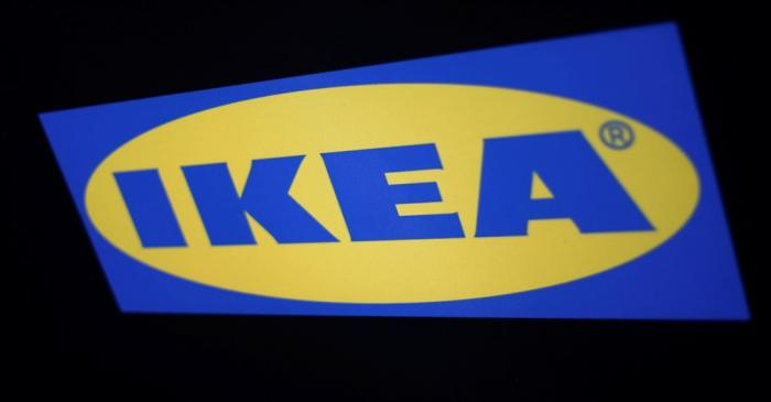 The logo of the Swedish furniture giant IKEA is seen in Mexico City