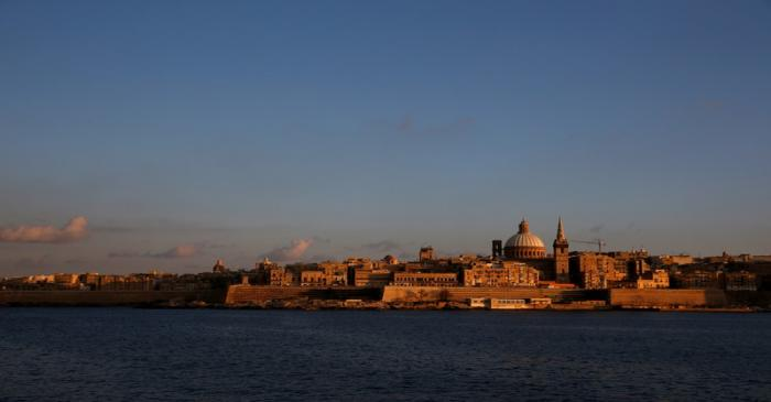 FILE PHOTO: The skyline of Valletta, dominated by the church spire and tower of St Paul's