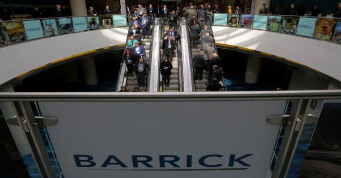 FILE PHOTO: The logo of sponsor Barrick Gold Corporation is seen as visitors arrive during the