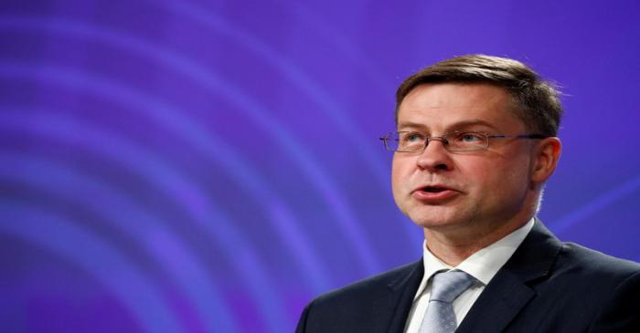 FILE PHOTO: EU Commission Vice-President Dombrovskis holds a news conference in Brussels