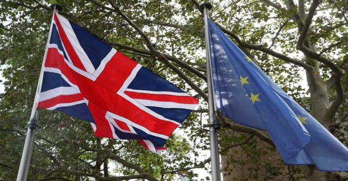 British Union Jack flag and European Union flag are seen in Luxembourg, September 16, 2019.
