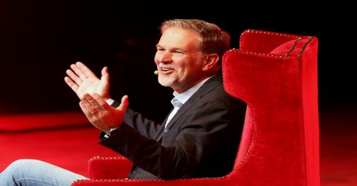 Reed Hastings, co-founder and CEO of Netflix, gestures during an event of the Fundacion Telmex