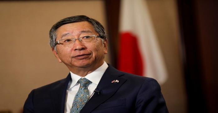 Koji Tsuruoka, Japan's ambassador to the UK speaks during an interview at the embassy in