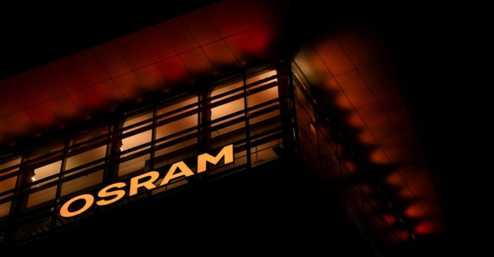 FILE PHOTO: The logo of German lighting manufacturer Osram is illuminated